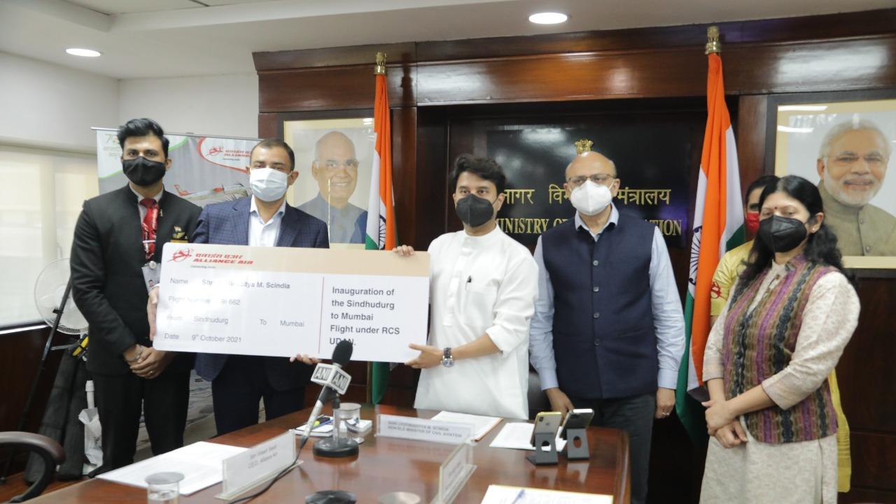 Civil Aviation Minister Jyotiraditya Scindia inaugurates greenfield Sindhudurg airport under the UDAN scheme